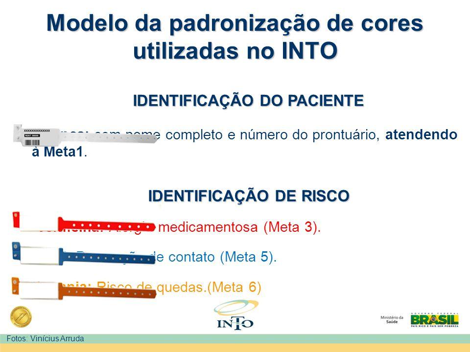 Modelo da padronização de cores utilizadas no INTO IDENTIFICAÇÃO DO PACIENTE Branca: com nome completo e número do prontuário, atendendo à Meta1. IDEN