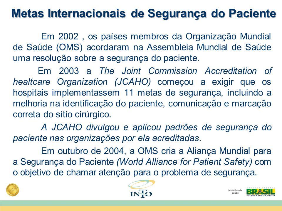 Metas Internacionais de Segurança do Paciente Em 2002, os países membros da Organização Mundial de Saúde (OMS) acordaram na Assembleia Mundial de Saúd