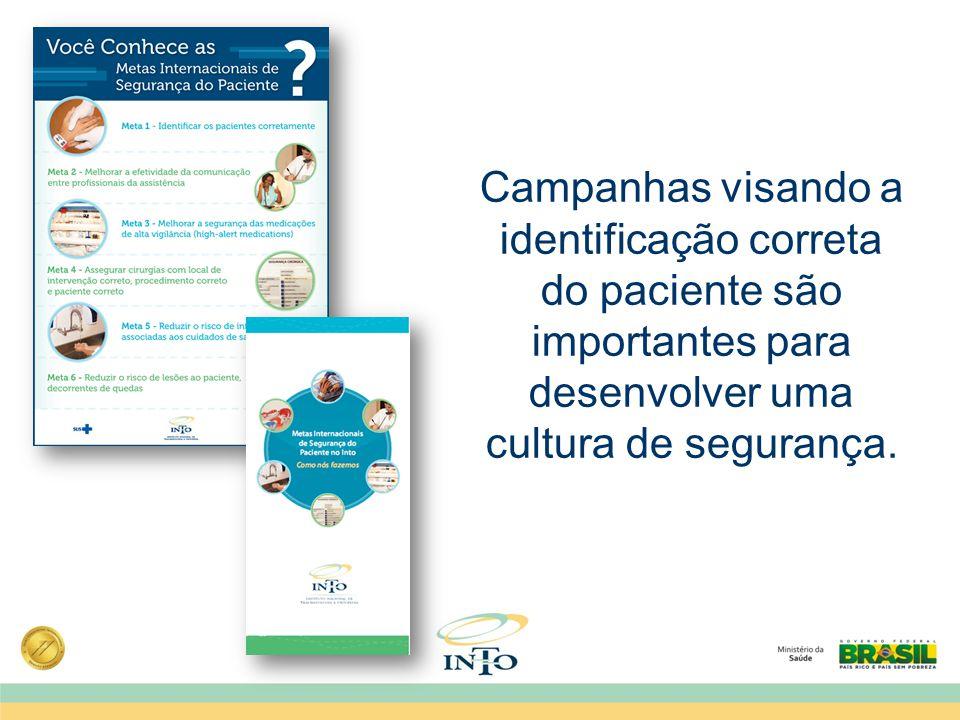 Campanhas visando a identificação correta do paciente são importantes para desenvolver uma cultura de segurança.