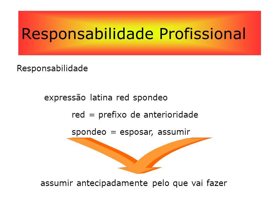 Responsabilidade Profissional Responsabilidade expressão latina red spondeo red = prefixo de anterioridade spondeo = esposar, assumir assumir antecipa