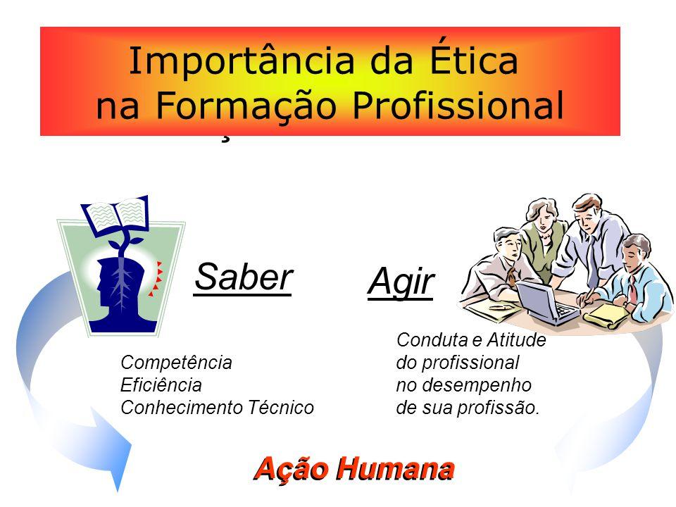 Ação Humana Importância da Ética na Formação Profissional Competência Eficiência Conhecimento Técnico Saber Agir Conduta e Atitude do profissional no