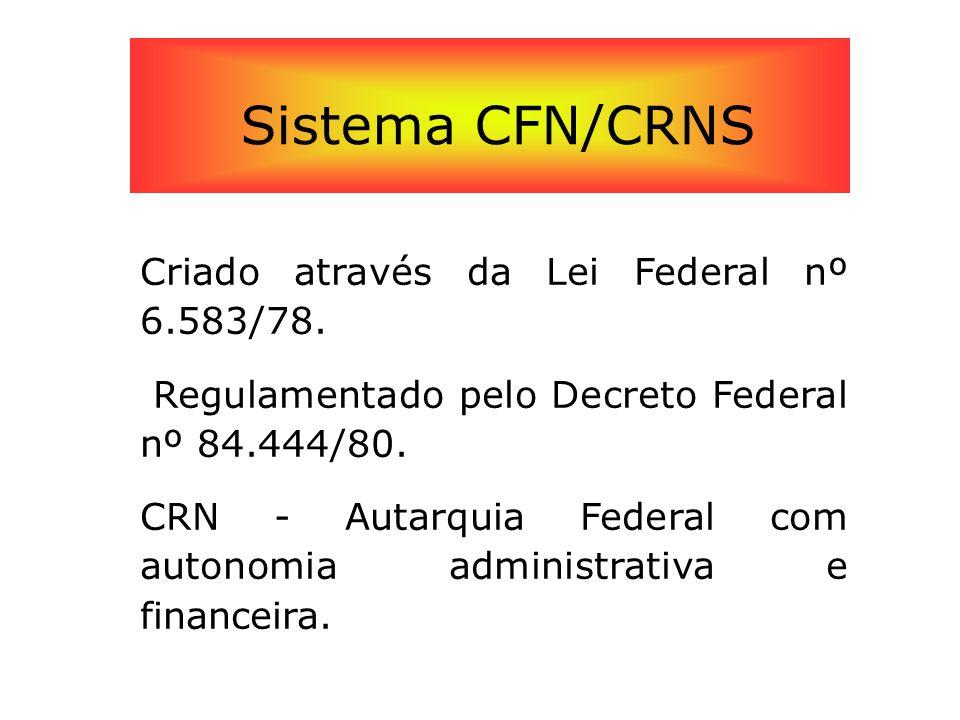 Sistema CFN/CRNS Criado através da Lei Federal nº 6.583/78. Regulamentado pelo Decreto Federal nº 84.444/80. CRN - Autarquia Federal com autonomia adm