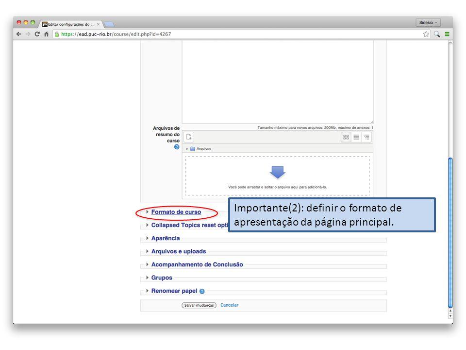 Importante(2): definir o formato de apresentação da página principal.