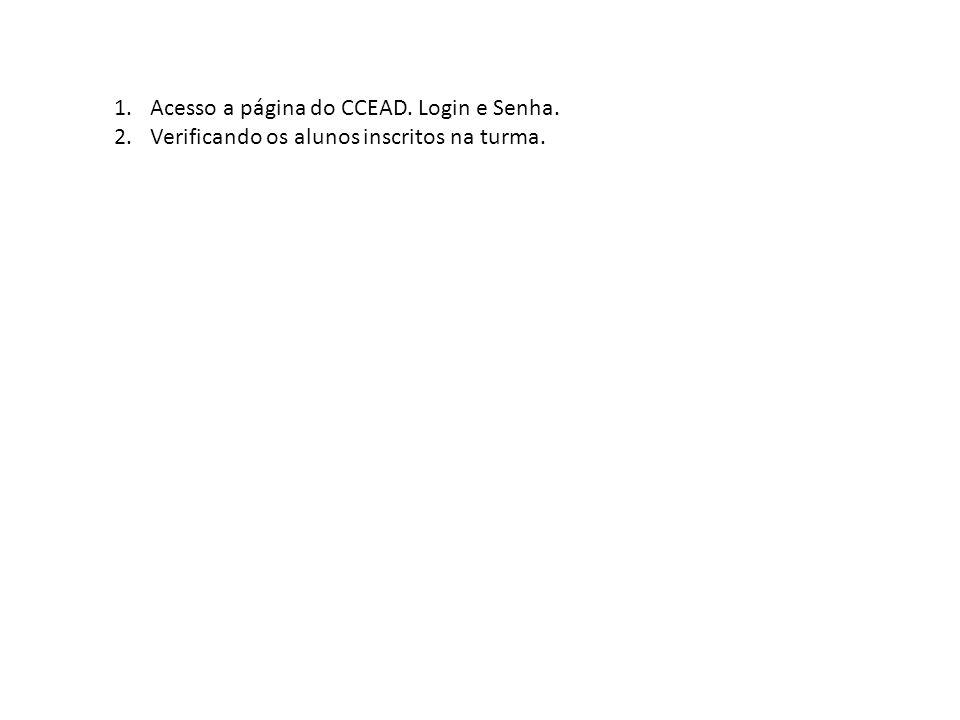 1.Acesso a página do CCEAD. Login e Senha. 2.Verificando os alunos inscritos na turma.