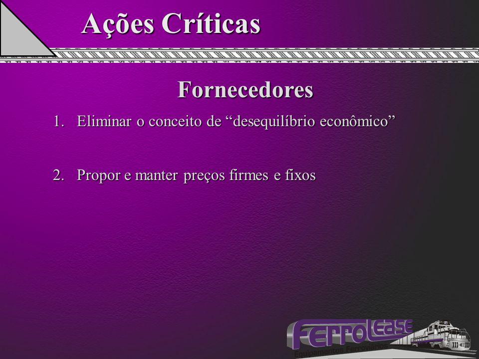 """Ações Críticas Fornecedores 1.Eliminar o conceito de """"desequilíbrio econômico"""" 2.Propor e manter preços firmes e fixos"""