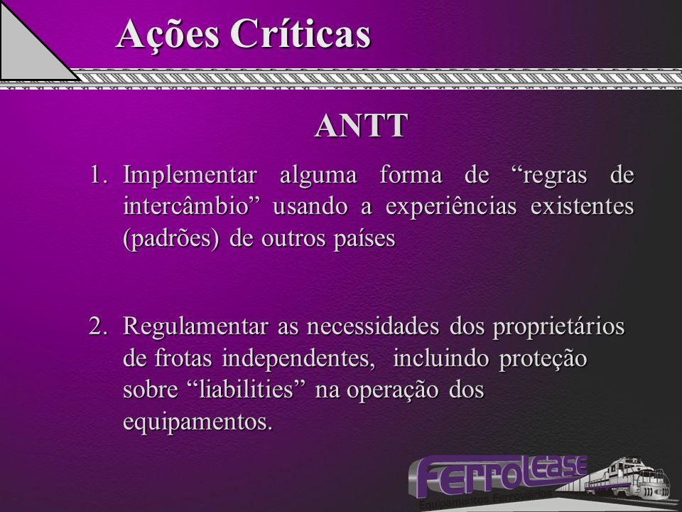 """Ações Críticas ANTT 1.Implementar alguma forma de """"regras de intercâmbio"""" usando a experiências existentes (padrões) de outros países 2.Regulamentar a"""