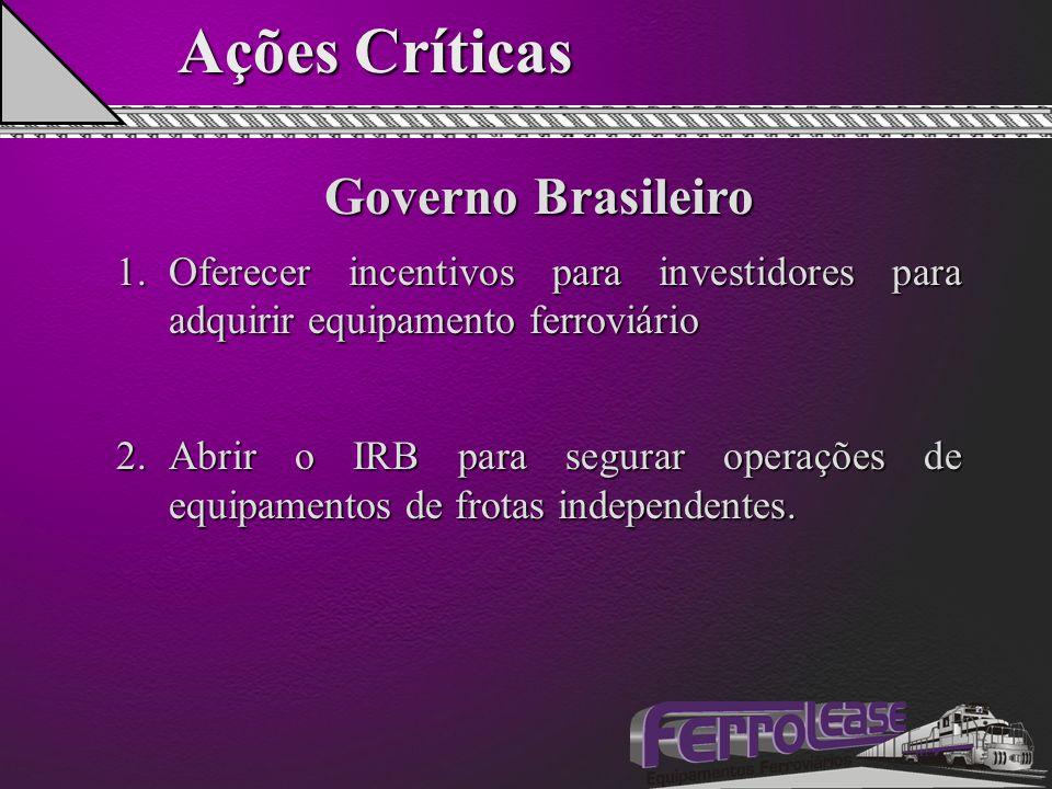 Ações Críticas Governo Brasileiro 1.Oferecer incentivos para investidores para adquirir equipamento ferroviário 2.Abrir o IRB para segurar operações de equipamentos de frotas independentes.