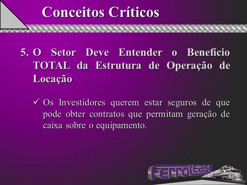 Conceitos Críticos 5.O Setor Deve Entender o Benefício TOTAL da Estrutura de Operação de Locação Os Investidores querem estar seguros de que pode obter contratos que permitam geração de caixa sobre o equipamento.