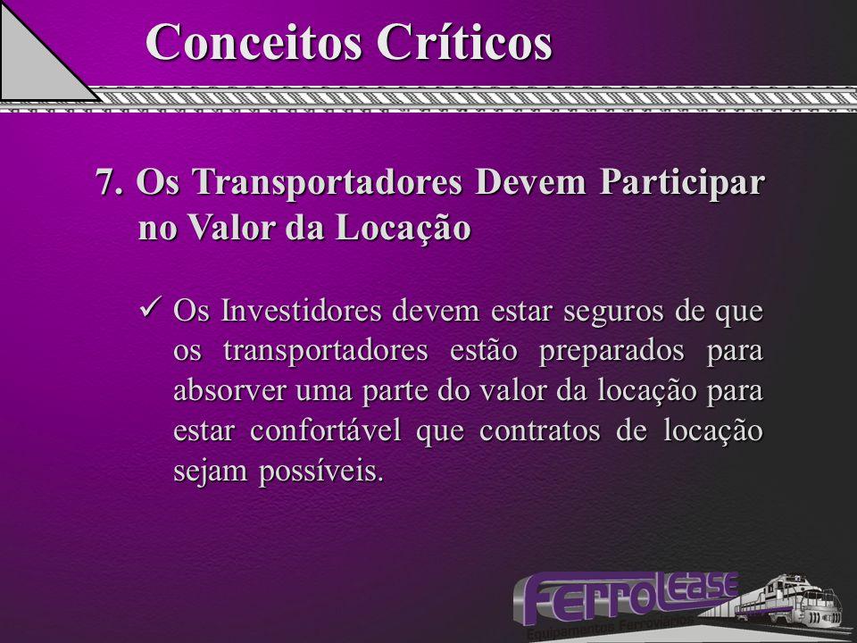 Conceitos Críticos 7. Os Transportadores Devem Participar no Valor da Locação Os Investidores devem estar seguros de que os transportadores estão prep