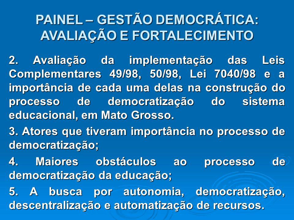 PAINEL – GESTÃO DEMOCRÁTICA: AVALIAÇÃO E FORTALECIMENTO 2.