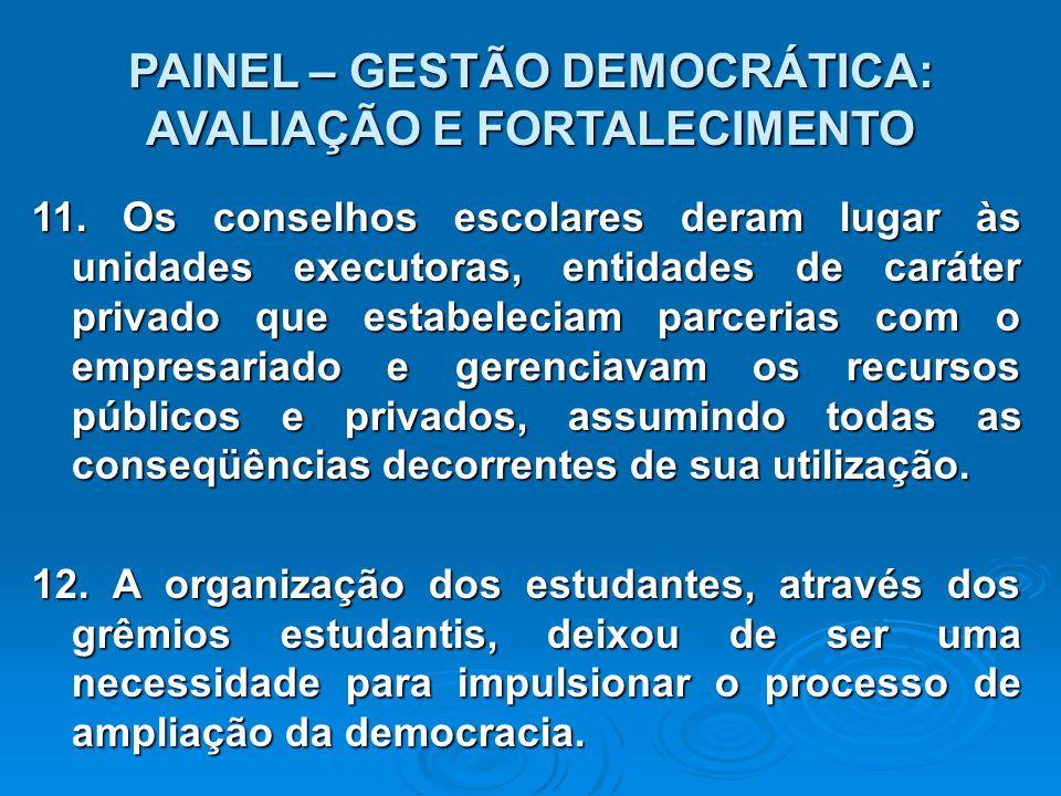 PAINEL – GESTÃO DEMOCRÁTICA: AVALIAÇÃO E FORTALECIMENTO 11.