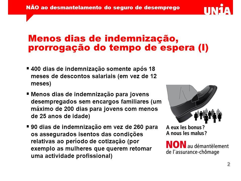 NÃO ao desmantelamento do seguro de desemprego 2 Menos dias de indemnização, prorrogação do tempo de espera (I)  400 dias de indemnização somente apó