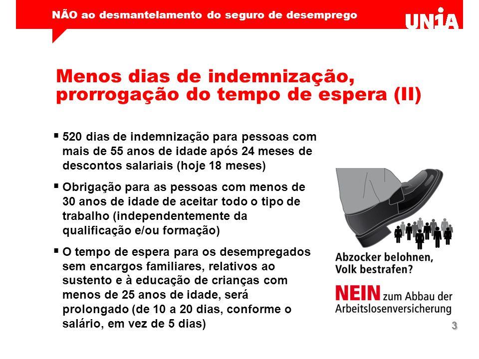 NÃO ao desmantelamento do seguro de desemprego 3 Menos dias de indemnização, prorrogação do tempo de espera (II)  520 dias de indemnização para pesso
