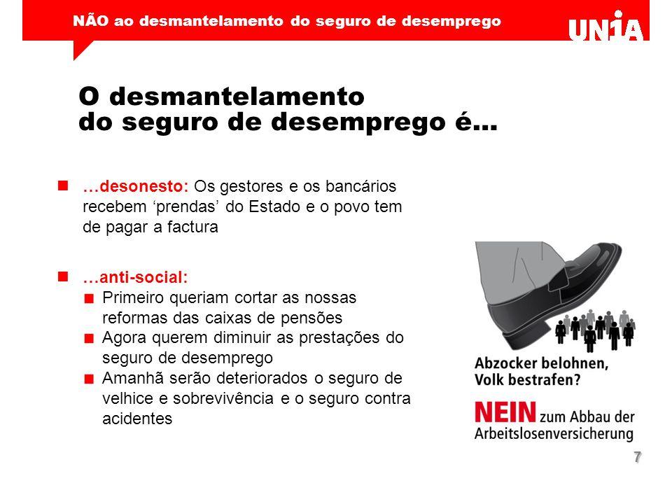 NÃO ao desmantelamento do seguro de desemprego 7 O desmantelamento do seguro de desemprego é… …desonesto: Os gestores e os bancários recebem 'prendas'