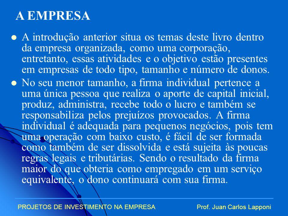 PROJETOS DE INVESTIMENTO NA EMPRESAProf.