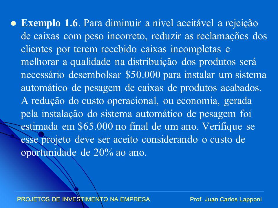PROJETOS DE INVESTIMENTO NA EMPRESAProf.Juan Carlos Lapponi Solução.