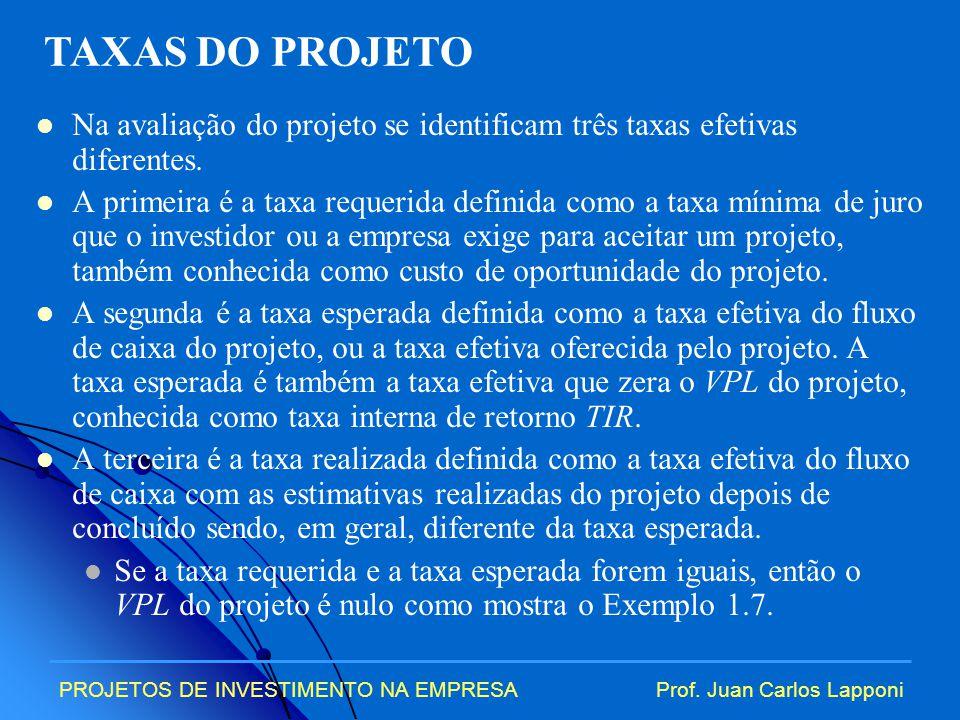 PROJETOS DE INVESTIMENTO NA EMPRESAProf.Juan Carlos Lapponi Exemplo 1.7.