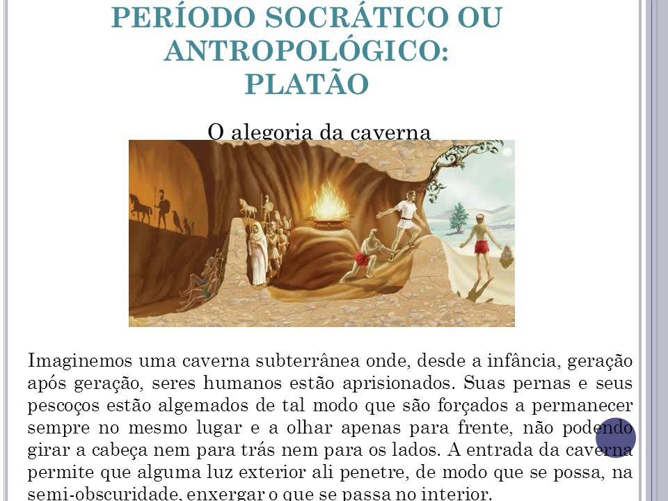 PERÍODO SOCRÁTICO OU ANTROPOLÓGICO: PLATÃO O alegoria da caverna Imaginemos uma caverna subterrânea onde, desde a infância, geração após geração, sere