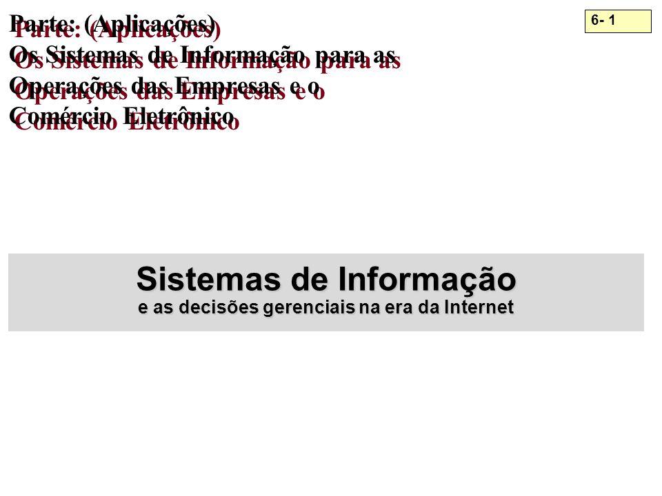 6- 1 Parte: (Aplicações) Os Sistemas de Informação para as Operações das Empresas e o Comércio Eletrônico Sistemas de Informação e as decisões gerenci