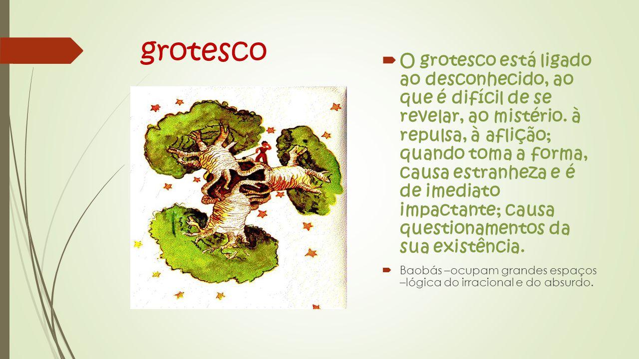 grotesco  O grotesco está ligado ao desconhecido, ao que é difícil de se revelar, ao mistério.