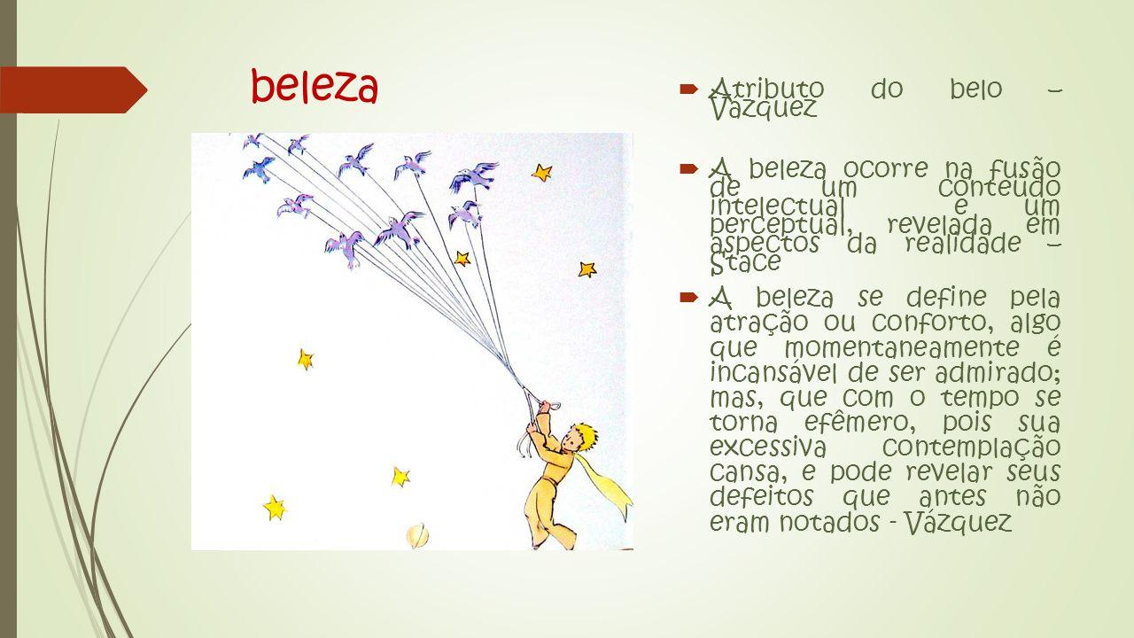 beleza  Atributo do belo – Vázquez  A beleza ocorre na fusão de um conteúdo intelectual e um perceptual, revelada em aspectos da realidade – Stace  A beleza se define pela atração ou conforto, algo que momentaneamente é incansável de ser admirado; mas, que com o tempo se torna efêmero, pois sua excessiva contemplação cansa, e pode revelar seus defeitos que antes não eram notados - Vázquez