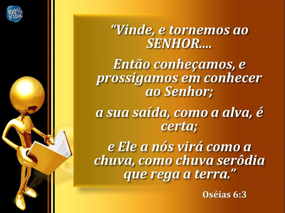 """Oséias 6:3 """"Vinde, e tornemos ao SENHOR.... Então conheçamos, e prossigamos em conhecer ao Senhor; a sua saída, como a alva, é certa; e Ele a nós virá"""