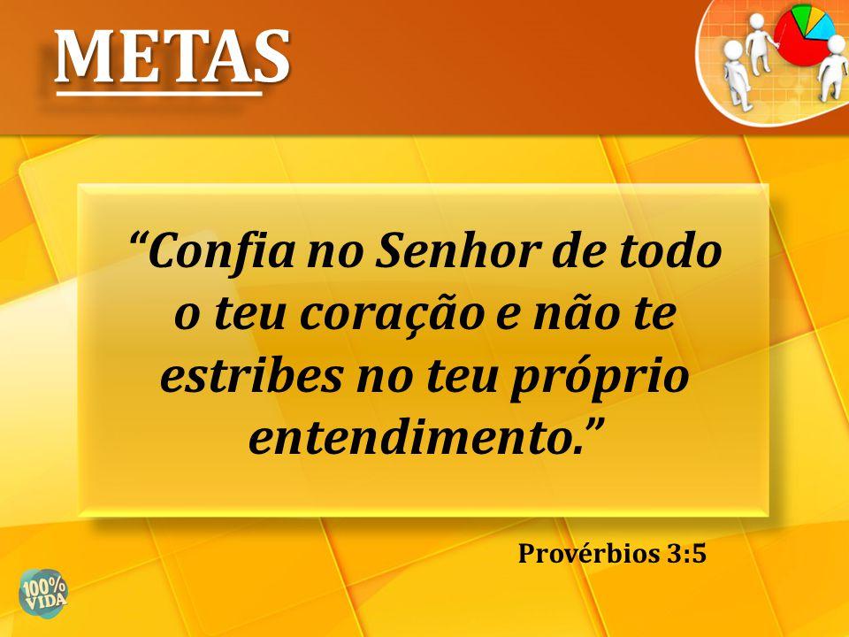 """""""Confia no Senhor de todo o teu coração e não te estribes no teu próprio entendimento."""" METASMETAS Provérbios 3:5"""