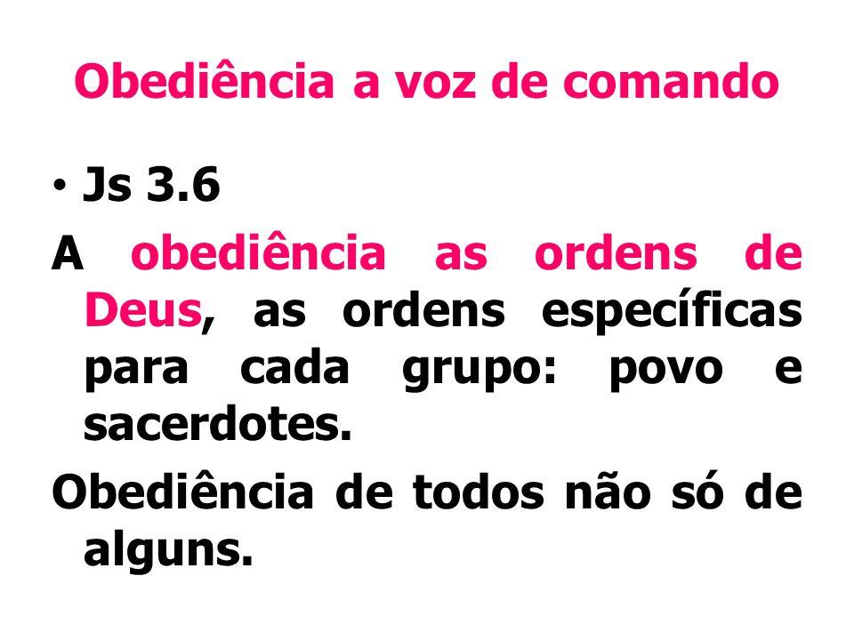 Obediência a voz de comando Js 3.6 A obediência as ordens de Deus, as ordens específicas para cada grupo: povo e sacerdotes.