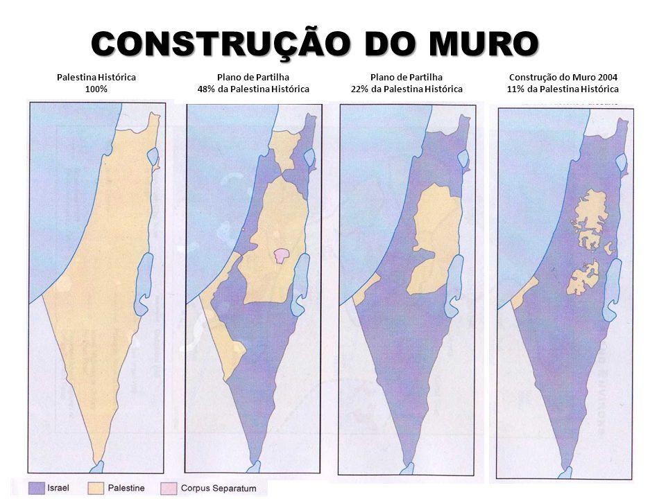 Construção do Muro 2004 11% da Palestina Histórica CONSTRUÇÃO DO MURO Plano de Partilha 22% da Palestina Histórica Plano de Partilha 48% da Palestina