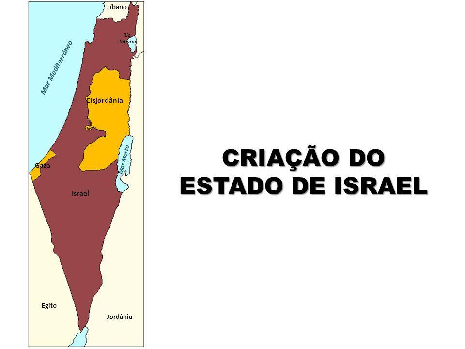 Egito Jordânia Mar Mediterrâneo Líbano Cisjordânia Gaza Israel Mar Morto Rio Tabaria CRIAÇÃO DO ESTADO DE ISRAEL