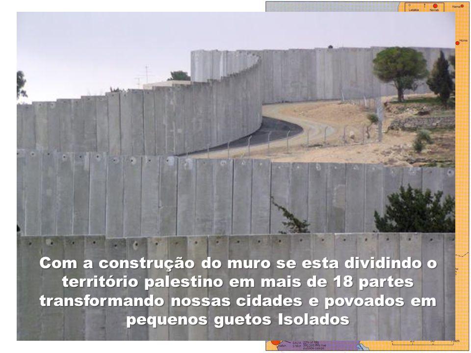 58 CAMPOS DE REFUGIADOS Com a construção do muro se esta dividindo o território palestino em mais de 18 partes transformando nossas cidades e povoados