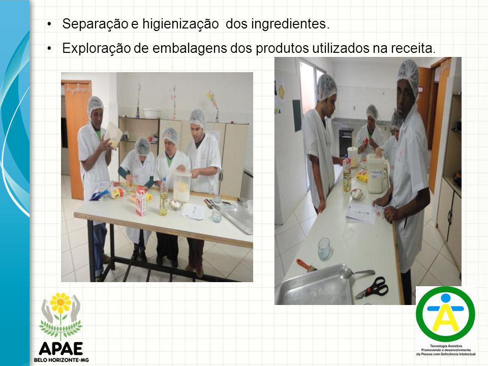 Separação e higienização dos ingredientes. Exploração de embalagens dos produtos utilizados na receita.