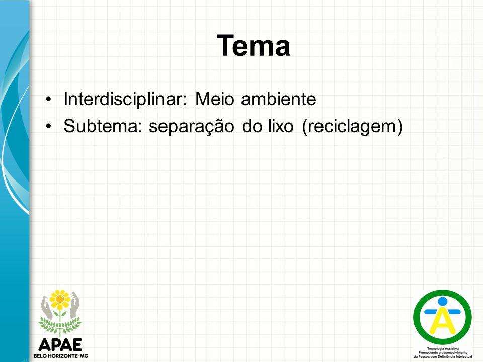 Tema Interdisciplinar: Meio ambiente Subtema: separação do lixo (reciclagem)