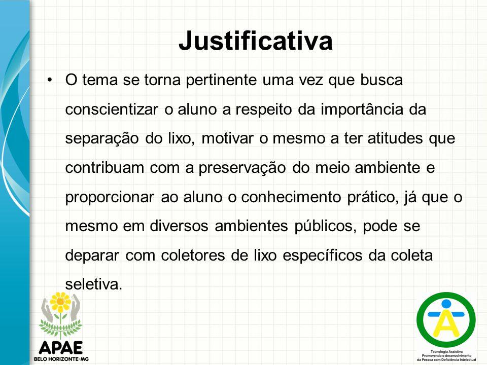 Justificativa O tema se torna pertinente uma vez que busca conscientizar o aluno a respeito da importância da separação do lixo, motivar o mesmo a ter