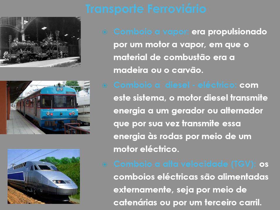  Comboio a vapor: era propulsionado por um motor a vapor, em que o material de combustão era a madeira ou o carvão.  Comboio a diesel - eléctrico: c