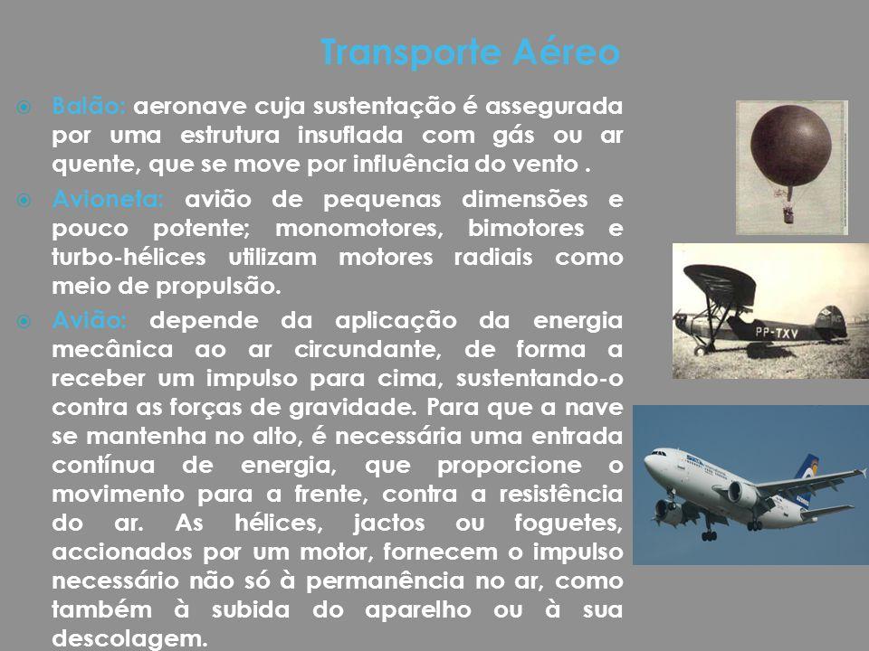  Balão: aeronave cuja sustentação é assegurada por uma estrutura insuflada com gás ou ar quente, que se move por influência do vento.  Avioneta: avi