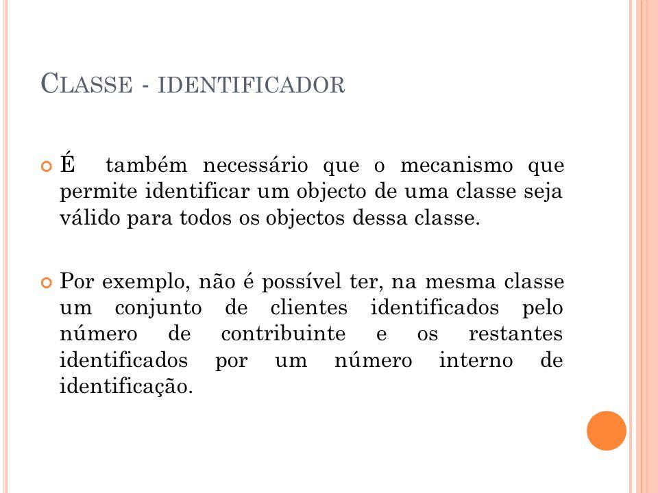 C LASSE - IDENTIFICADOR É também necessário que o mecanismo que permite identificar um objecto de uma classe seja válido para todos os objectos dessa classe.