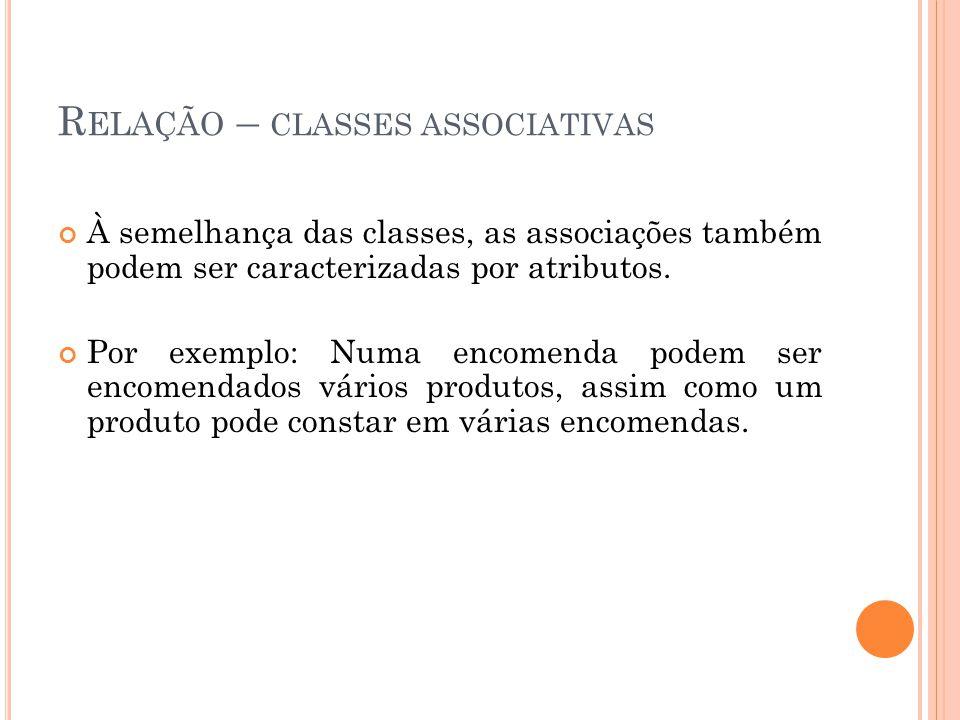 R ELAÇÃO – CLASSES ASSOCIATIVAS À semelhança das classes, as associações também podem ser caracterizadas por atributos.