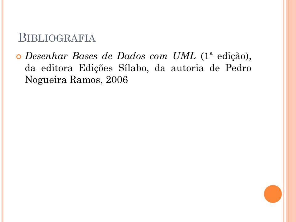 B IBLIOGRAFIA Desenhar Bases de Dados com UML (1ª edição), da editora Edições Sílabo, da autoria de Pedro Nogueira Ramos, 2006