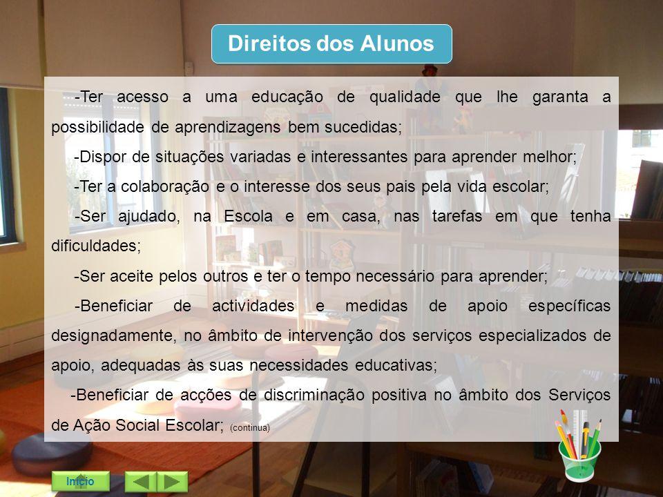 Direitos dos Alunos -Ter acesso a uma educação de qualidade que lhe garanta a possibilidade de aprendizagens bem sucedidas; -Dispor de situações varia