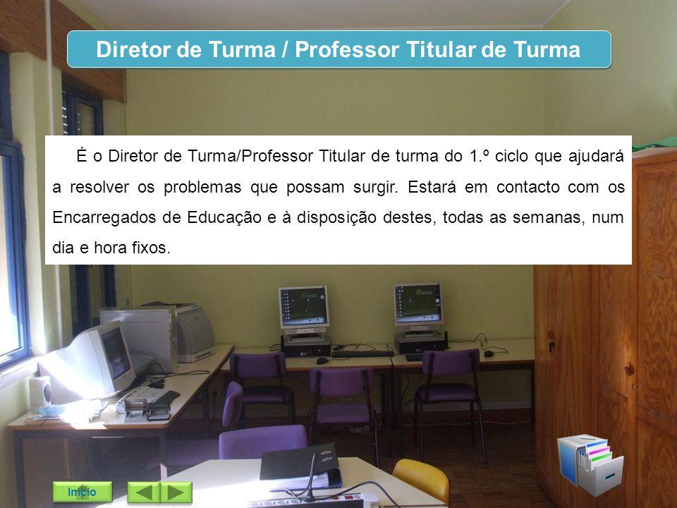 Diretor de Turma / Professor Titular de Turma É o Diretor de Turma/Professor Titular de turma do 1.º ciclo que ajudará a resolver os problemas que pos