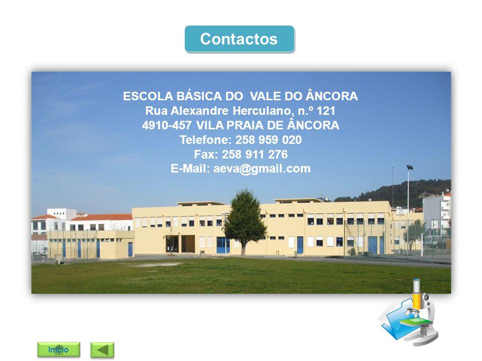 Contactos ESCOLA BÁSICA DO VALE DO ÂNCORA Rua Alexandre Herculano, n.º 121 4910-457 VILA PRAIA DE ÂNCORA Telefone: 258 959 020 Fax: 258 911 276 E-Mail
