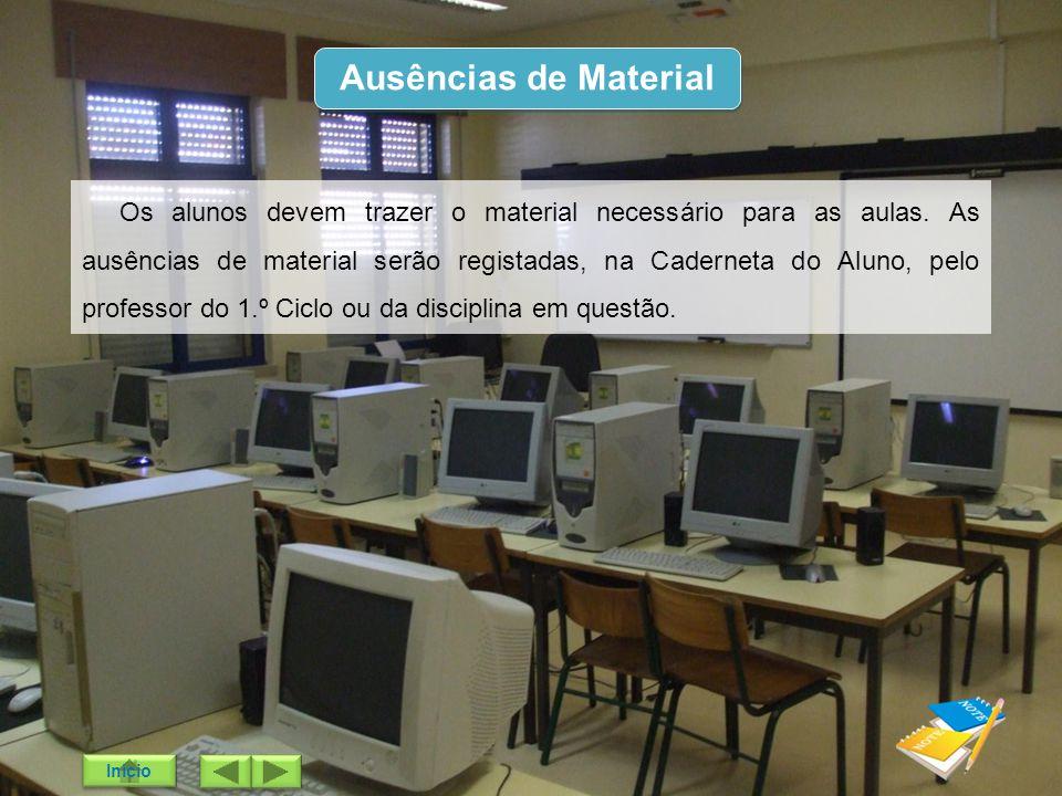Ausências de Material Os alunos devem trazer o material necessário para as aulas. As ausências de material serão registadas, na Caderneta do Aluno, pe