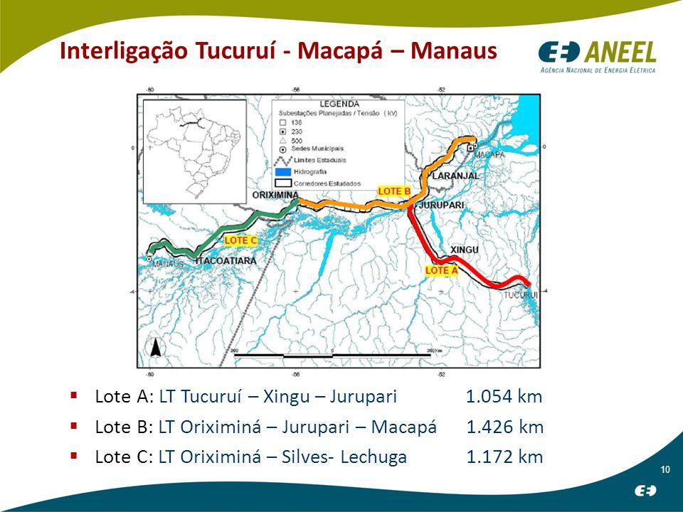 10 Interligação Tucuruí - Macapá – Manaus  Lote A: LT Tucuruí – Xingu – Jurupari 1.054 km  Lote B: LT Oriximiná – Jurupari – Macapá 1.426 km  Lote C: LT Oriximiná – Silves- Lechuga 1.172 km