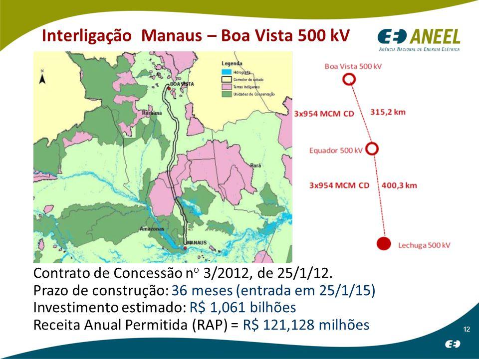 12 Interligação Manaus – Boa Vista 500 kV Contrato de Concessão n o 3/2012, de 25/1/12.
