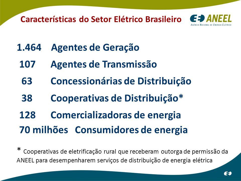 Características do Setor Elétrico Brasileiro 1.464 Agentes de Geração 107 Agentes de Transmissão 63 Concessionárias de Distribuição 38 Cooperativas de Distribuição* 128 Comercializadoras de energia 70 milhões Consumidores de energia * Cooperativas de eletrificação rural que receberam outorga de permissão da ANEEL para desempenharem serviços de distribuição de energia elétrica