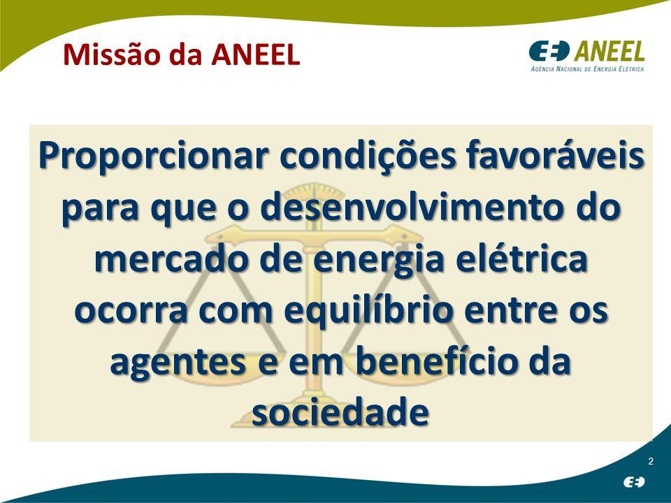 2 Missão da ANEEL Proporcionar condições favoráveis para que o desenvolvimento do mercado de energia elétrica ocorra com equilíbrio entre os agentes e em benefício da sociedade