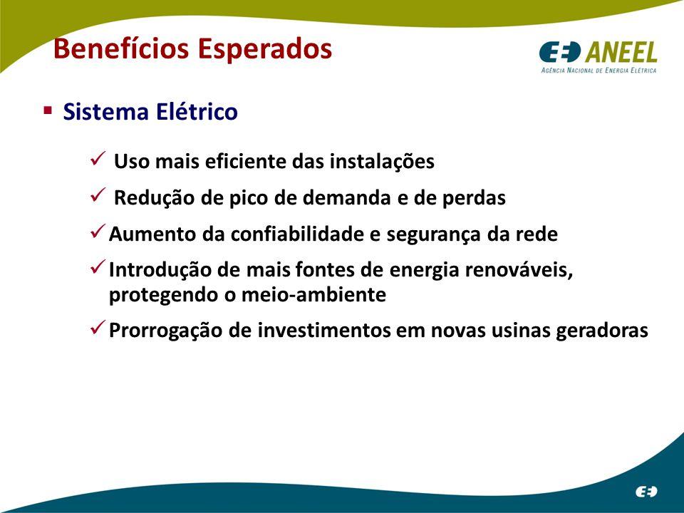 Sistema Elétrico Uso mais eficiente das instalações Redução de pico de demanda e de perdas Aumento da confiabilidade e segurança da rede Introdução de mais fontes de energia renováveis, protegendo o meio-ambiente Prorrogação de investimentos em novas usinas geradoras Benefícios Esperados