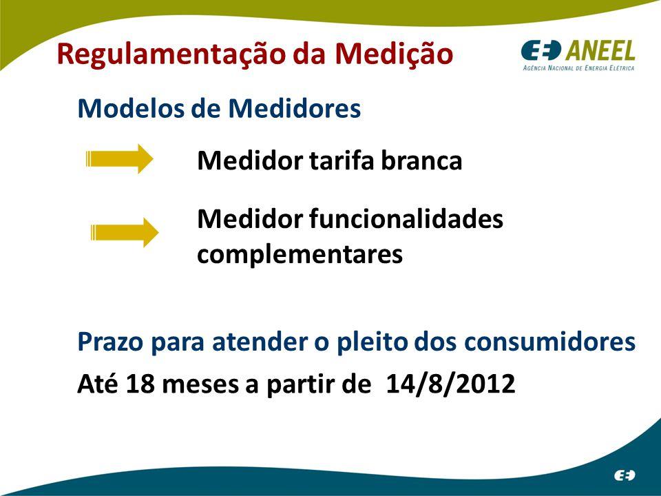 Regulamentação da Medição Medidor tarifa branca Medidor funcionalidades complementares Modelos de Medidores Prazo para atender o pleito dos consumidores Até 18 meses a partir de 14/8/2012