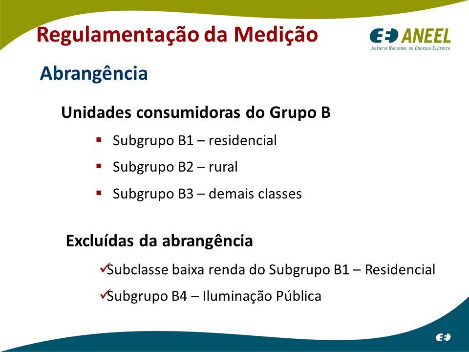 Regulamentação da Medição Abrangência Unidades consumidoras do Grupo B  Subgrupo B1 – residencial  Subgrupo B2 – rural  Subgrupo B3 – demais classes Excluídas da abrangência Subclasse baixa renda do Subgrupo B1 – Residencial Subgrupo B4 – Iluminação Pública
